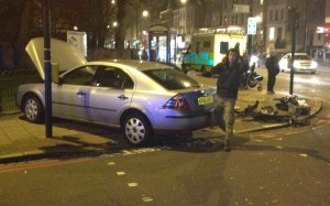 A Ford Mondeo mounted the pavement on Brixton Water Lane