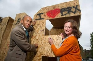 Rachel Heywood with Chuka Umunna demonstrating her love for Brixton
