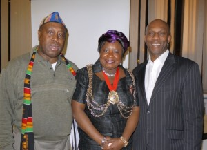 The Lambeth mayor with Devon Thomas, left, and Rudi Page