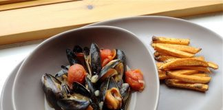 West African inspired mussels and chips