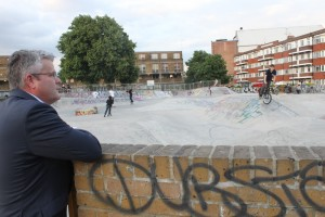 Cllr Paul McGlone demonstrated his support for Stockwell Skatepark, even though it had been overlooked by the latest investment plan for open spaces