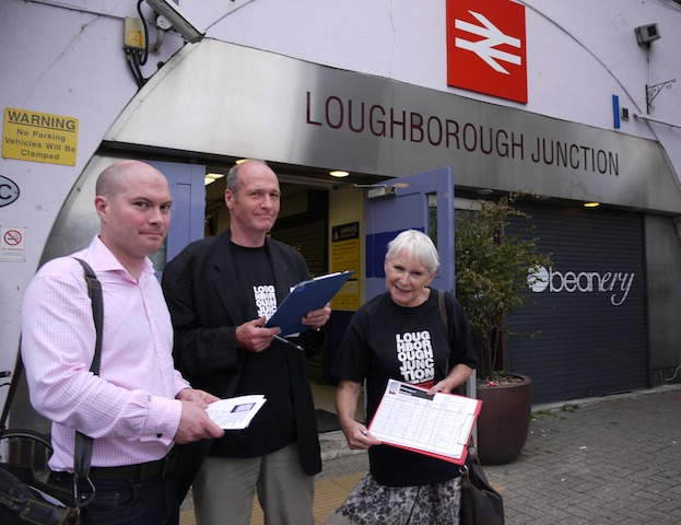 OVERJOYED: Anthea Massey, right joins other LJAG members at Loughborough Junction station