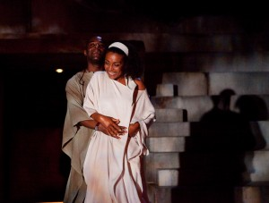 Paterson Joseph (Brutus) and Adjoa Andoh (Portia) in Julius Caesar