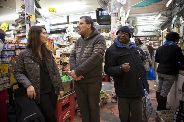 Saja Shaheen, left, at Nour Cash and Carry with her father