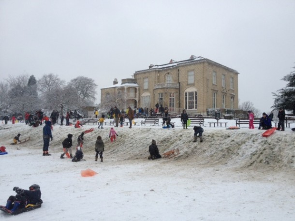 This slope in front of Brockwell Hall became the nursery slope for the day. Pic Tim Dickens
