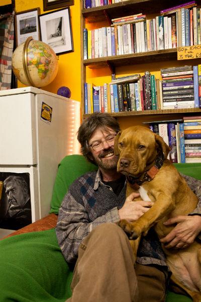 Patrick Kelly with shop mascot Rosa