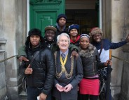 Lambeth Mayor Councillor Clive Bennett & young writers outside Tate Library