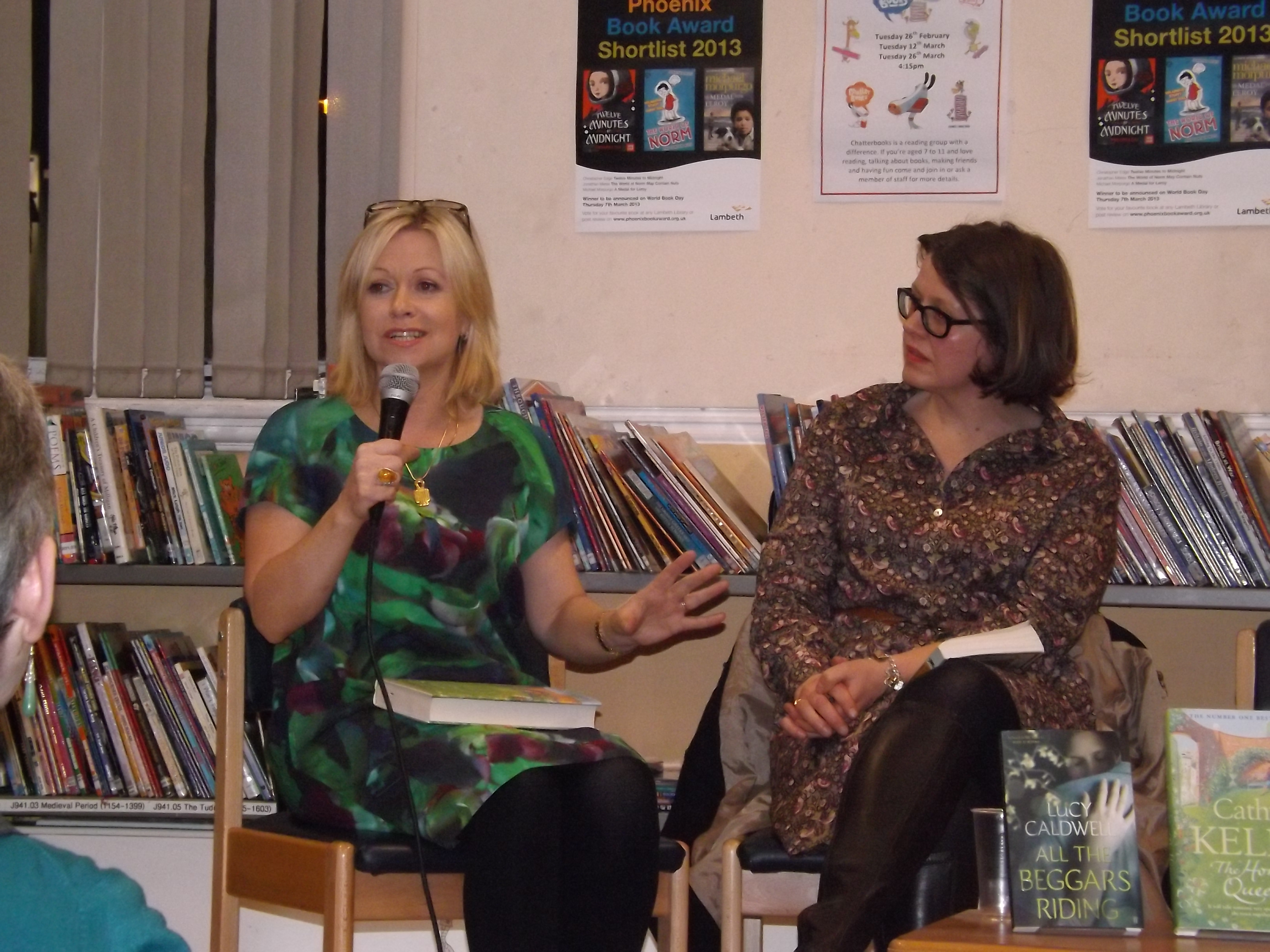 Cathy Kelly and Wendy Jones in conversation with readers at Brixton Library