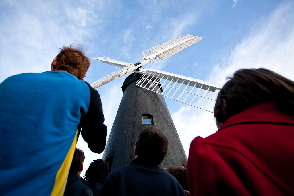 The windmill itself, with a workshop tour in-progress (photo by Paul Richardson)