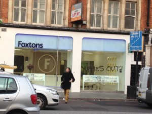 'Yuppies out' on Foxtons in Brixton (Credit: Kaye Wiggins)