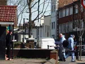 Forensics officers carrying out investigations in Southwell Road on Sunday