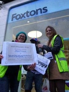 Protesters present Foxtons with 'worst letting agent' certificate