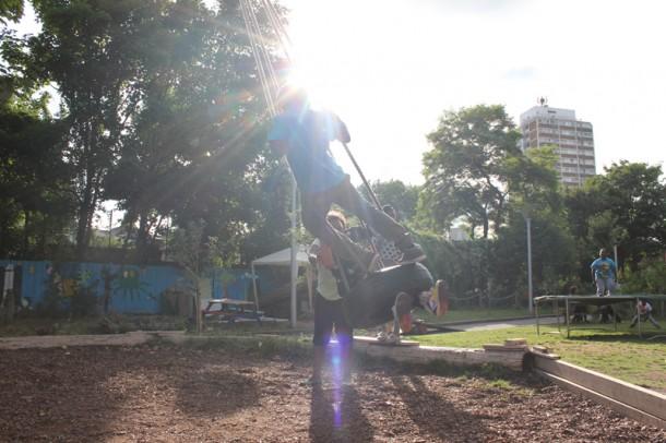 Triangle playground swing