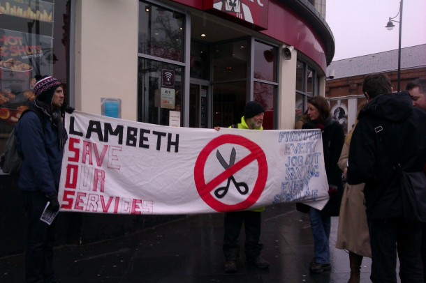 Lambeth Save Our Services protest about the cuts in Brixton in March