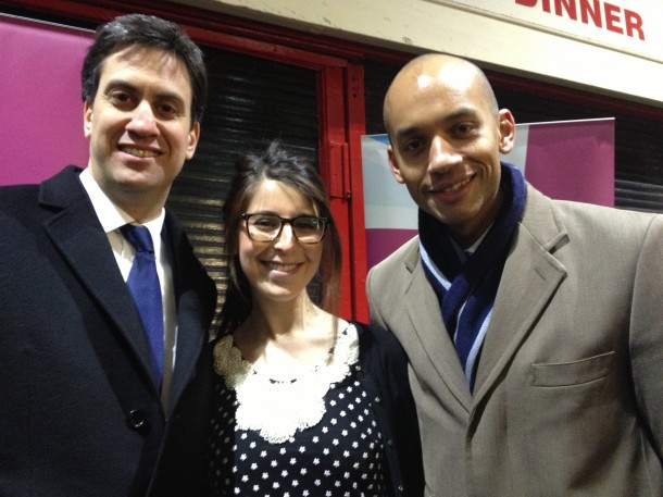 Ed Miliband MP, Saja Shaheen (Nour Cash & Carry) and Chuka Umunna MP