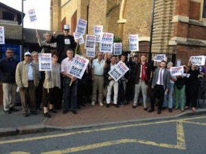 Campaigners at a meeting against Tesco last year. Picture by Brixton Blog