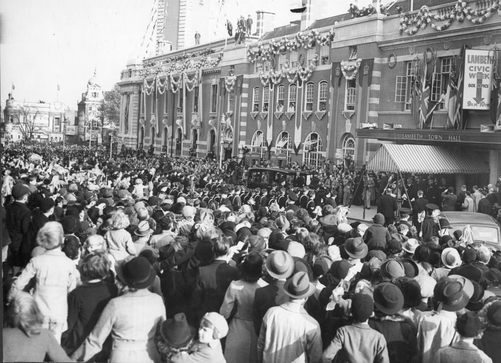Lambeth Town Hall during a royal visit in 1938. Photograph courtesy of the Lambeth Archives