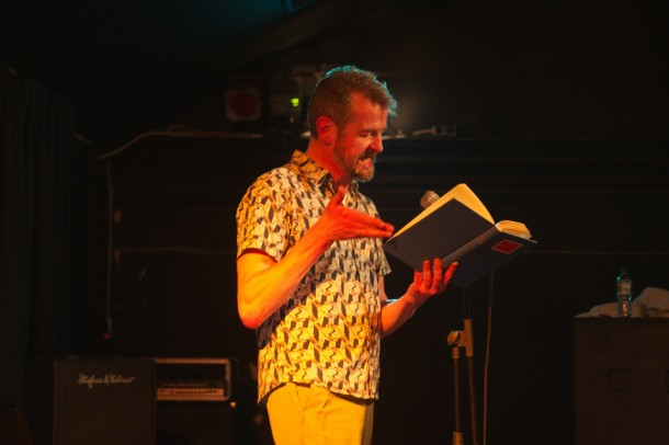 Adam Mars Jones reading at the Brixton BookJam. Photograph by Stuart Taylor