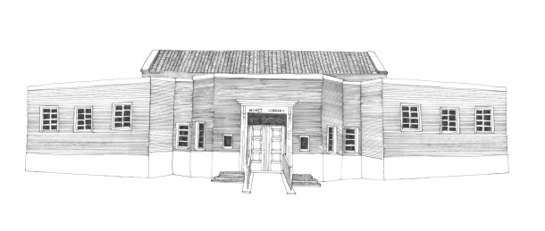 The Minet Library today, illustration by Sophie Gainsley