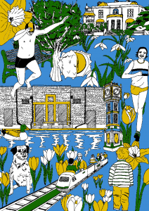 Brockwell Lido in Spring, by Kaylene Alder for The Brixton Bugle