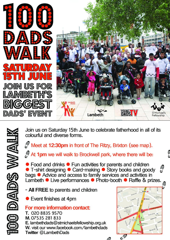 100 Dads Walk flyer - Brixton, Saturday 15 June 2013