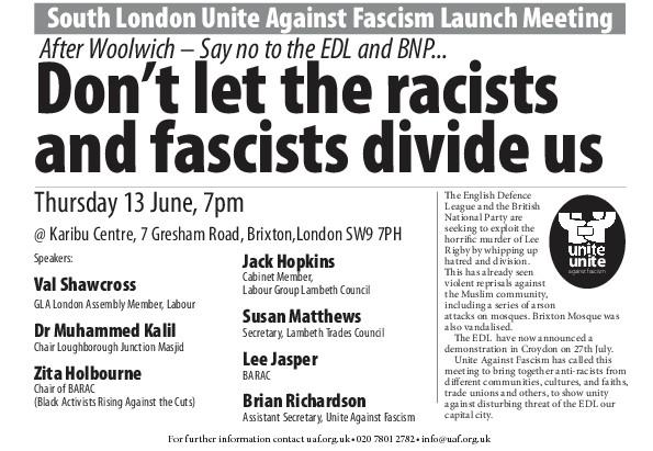 South London Unite Against Fascism Launch Meeting