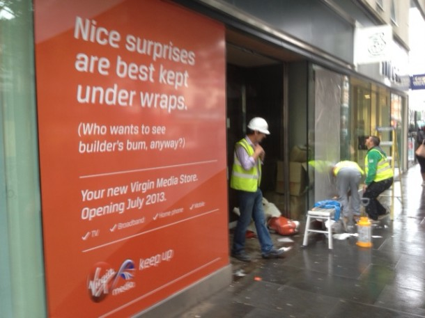 BUILDERS' BUMS: The Virgin Media store will be sandwiched between O2, Three, and Carphone Warehouse
