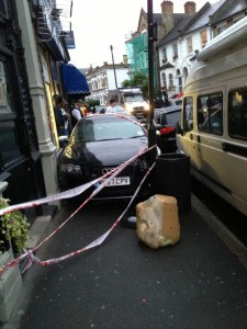 The Audi mounted the pavement outside the Elm Park Tavern, ending wedged between the pub and parked cars. Picture by Simon Still @SimonStill on Twitter