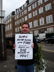 Campaigner Colin Crilly, of Wandsworth Against Cuts, sends a message to Boris - the station serves both Lambeth and Wandsworth.