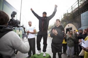 VICTORIOUS: 2012 men's winner Andre Nembhard (centre)