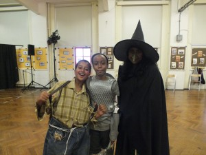 CHARACTERS: From left: Scarecrow, tinman, wicked witch