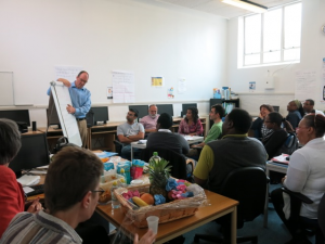 Students being taught by Lambeth's leading entrepreneur, Colin Crooks