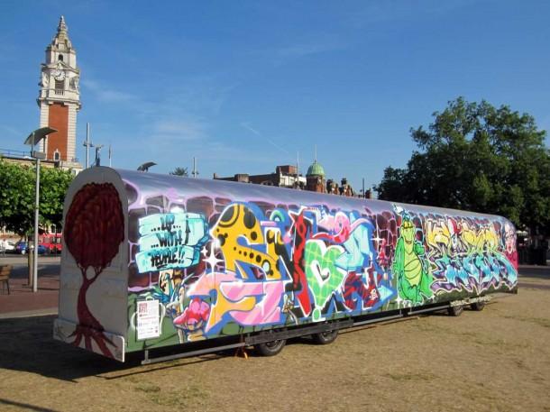Urban Art tube train in Windrush Square