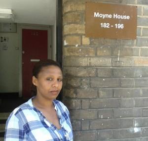 Betiel Mehari outside her block