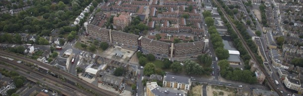 Southwyck House and Somerleyton Road from the air. Somerleyton is to be redeveloped under the plans. Image courtesy of Future Brixton