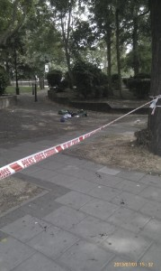 The scene of the incident of Villa Road, Brixton. Picture by @Dexterdeadwood on Twitter