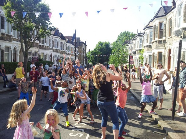 Kids playing at the Leander Road street party
