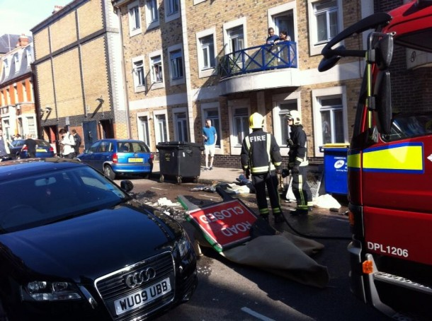 Fire crews put out bin fires in Rushcroft Road. Picture by