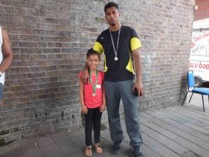 CHAMPIONS: Andre Nembhard with his niece Jaeda Nembhard