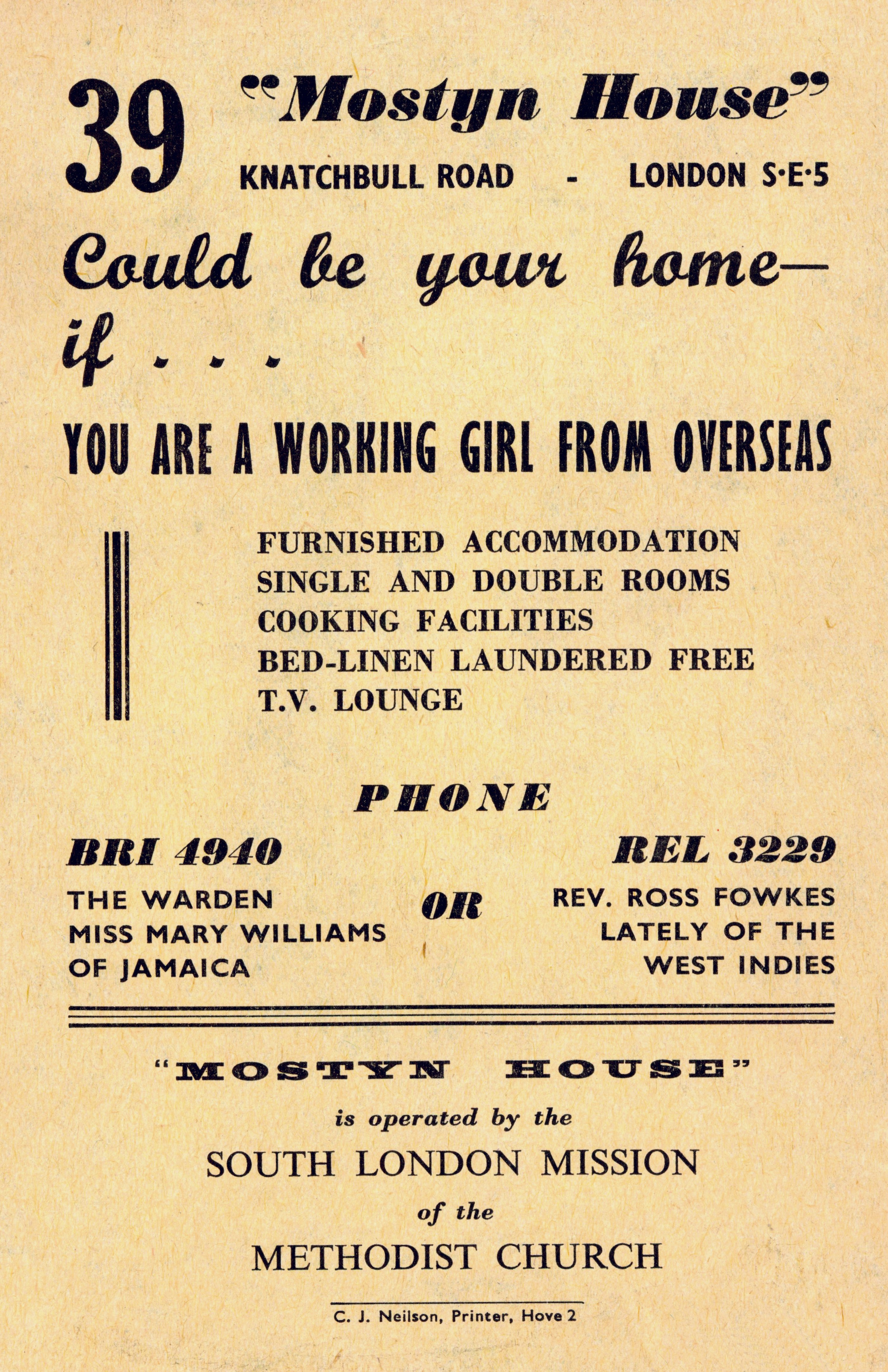 An advertisement for a hostel in Brixton, ca 1960. Image courtesy of Lambeth Archives