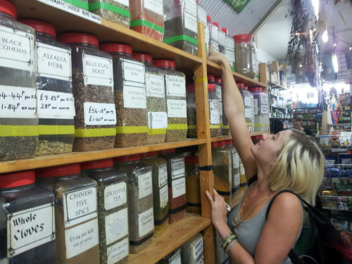 Rae Francis Stewart, of Herne Hill's Ye Olde Bakery, looking for Echinacea and China Star Aniseed]