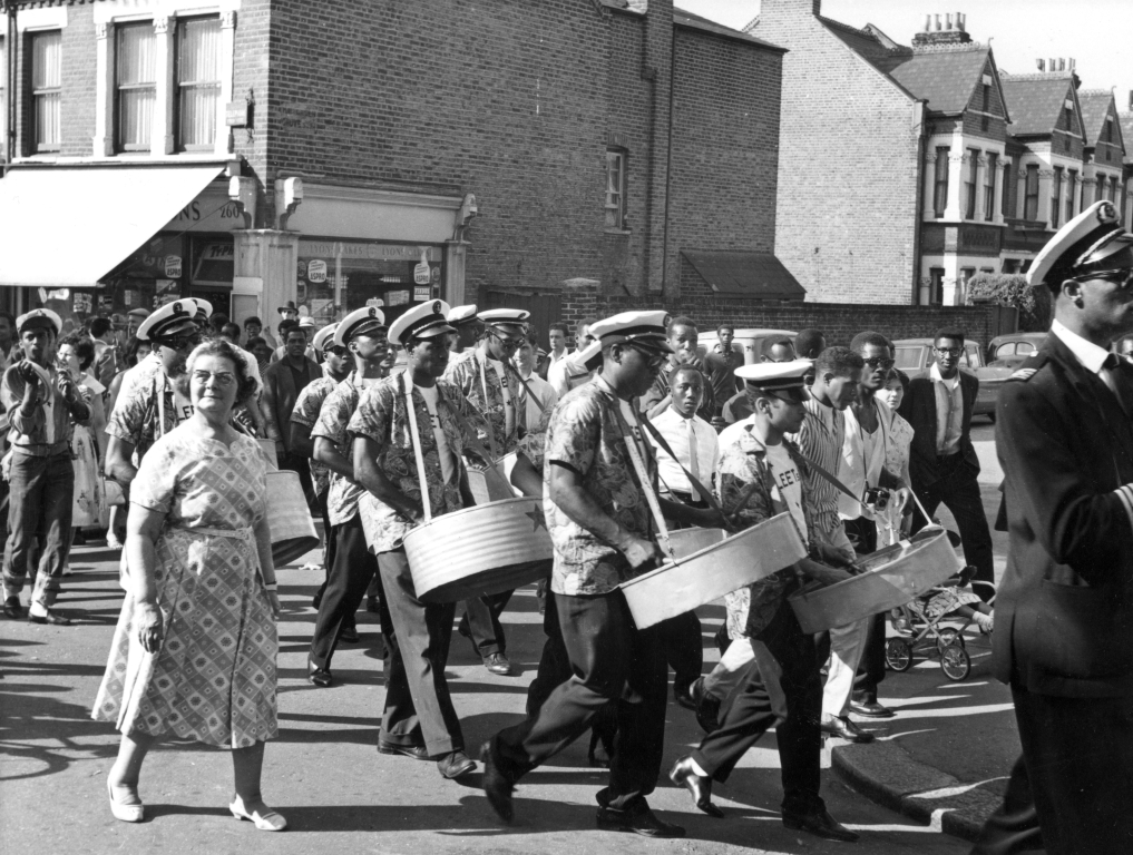 Steel band at Lambeth Festival, Rosendale Road, 1961. Photograph courtesy of Lambeth Archives.