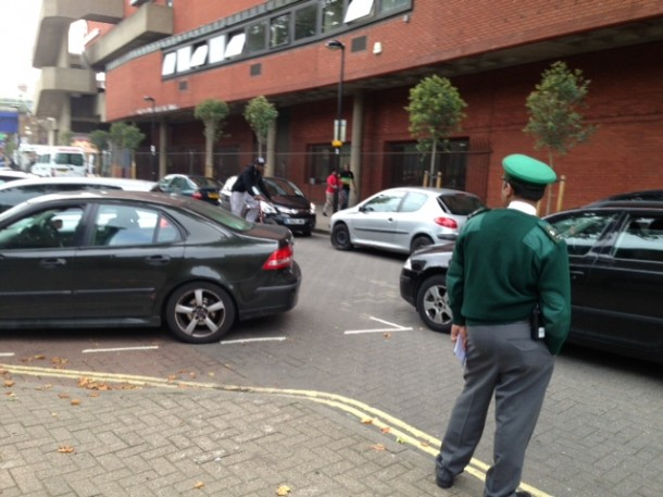 Parking warden outside the Rec