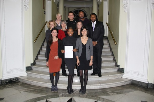 TRADING UP: Brixton BID members with the voting results at Lambeth Town Hall