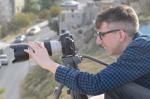 James Stittle filming at the Jordan/Syria border