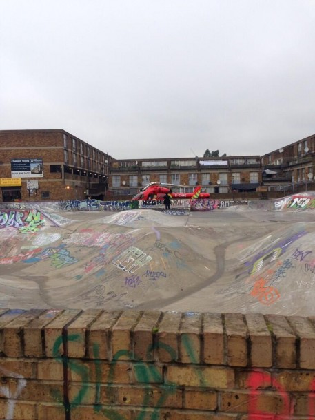 The air ambulance lands at the Stockwell Road skate park today. Picture by Gavin Springett on Twitter