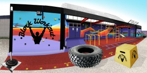 An artist's impression of what 'BlockWorkOut' gym could look like