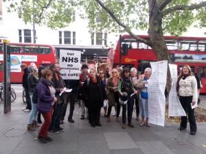 Protestors outside Virgin Media