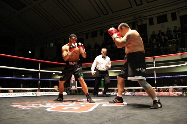 Local boxer AJ Carter at a fight in December; pic by Stuart Everitt