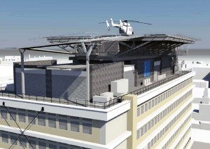 Close up visualisation of the proposed helipad structure looking north